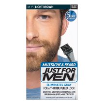 Just For Men Mustache and Beard, Brush-in Color Gel, Light Brown, Shade M-25