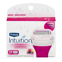 Schick Intuition Lather & Shave Razor Blades Island Berry - 3 CT