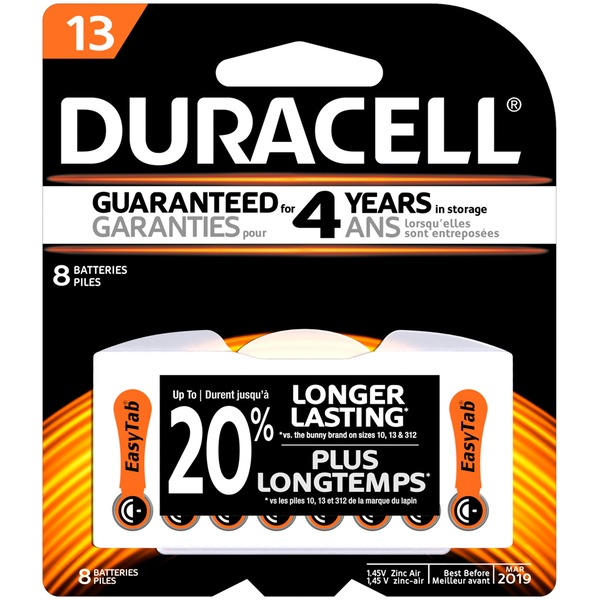 Duracell Hearing Aid Size 13 batteries with EasyTab  8 count Specialty Batteries