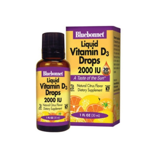 Bluebonnet Nutrition Liquid Vitamin D3 Drops 2000 IU, Natural Citrus Flavor