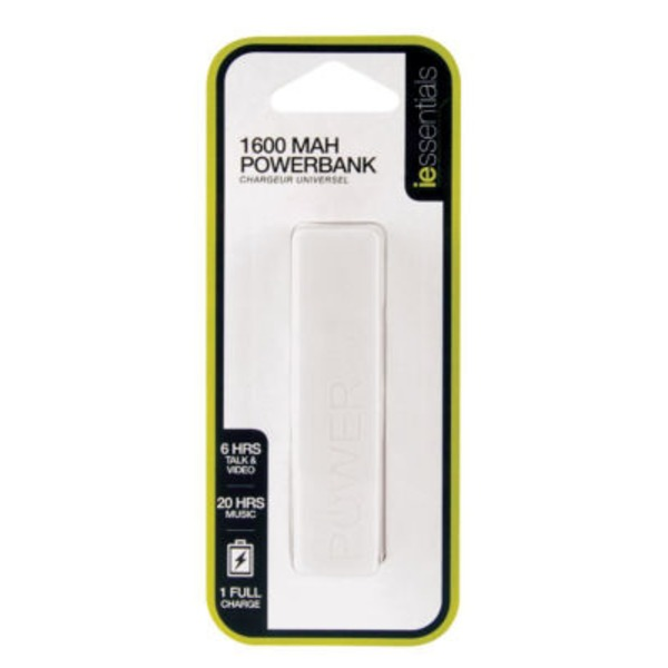 iEssentials White 1600mAh Power Bank
