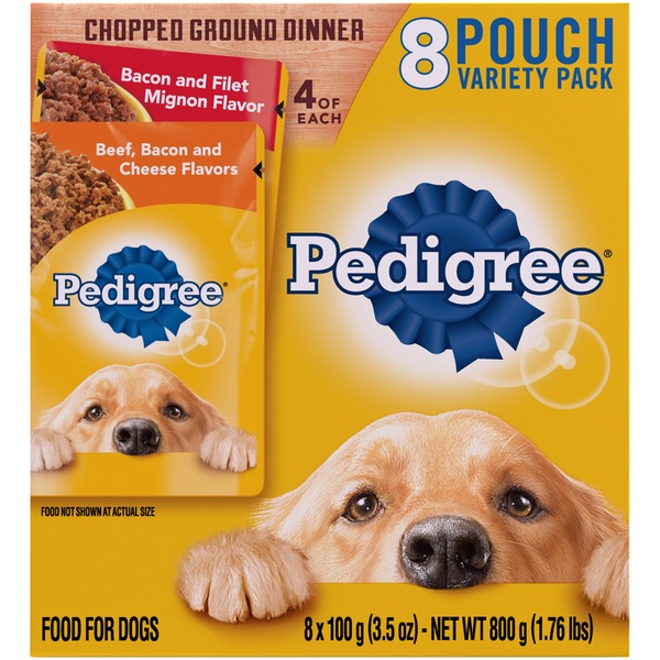 Pedigree Variety Pack Chopped Ground Dinner Bacon and Filet Mignon Flavor Beef, Bacon and Cheese Flavors Wet Dog Food