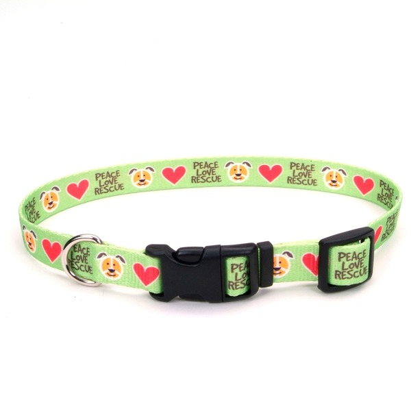 Petco Large Peace Love Rescue Green Nylon Adjustable Dog Collar