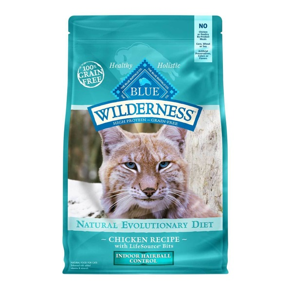 Blue Buffalo Food for Cats, Natural Evolutionary Diet, Indoor Hairball Control, Chicken Recipe