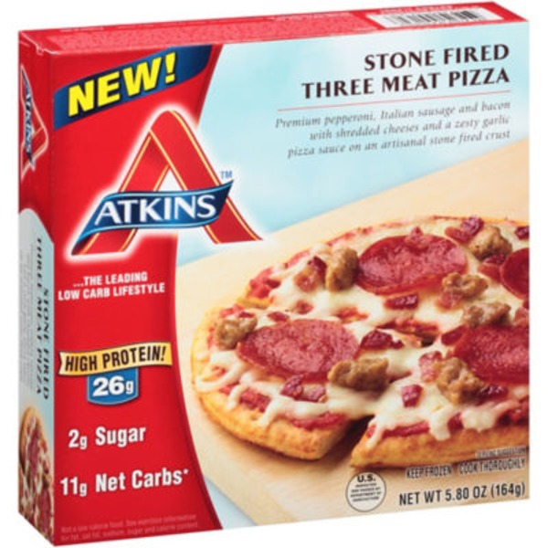 Atkins Stone Fired Three Meat Pizza
