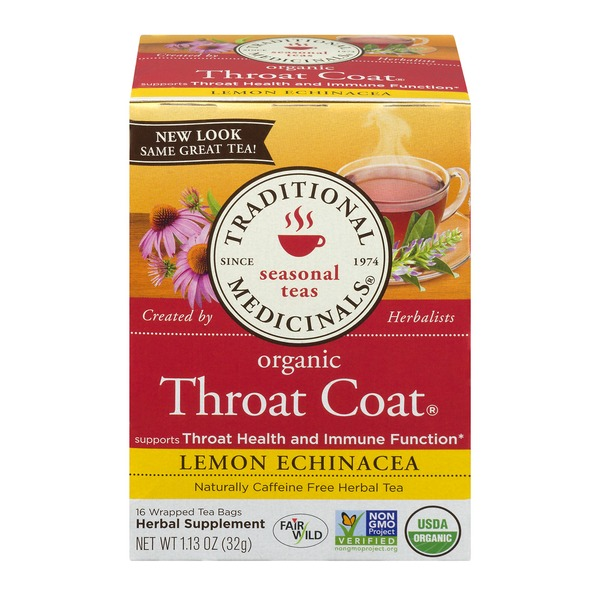 Traditional Medicinals Seasonal Teas Organic Throat Coat Lemon Echinacea Wrapped Tea Bags - 16 CT