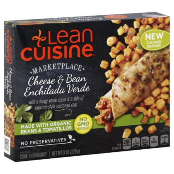 Lean Cuisine Marketplace with a tangy verde sauce & a side of mexican-style seasoned corn Cheese and Bean Enchilada Verde