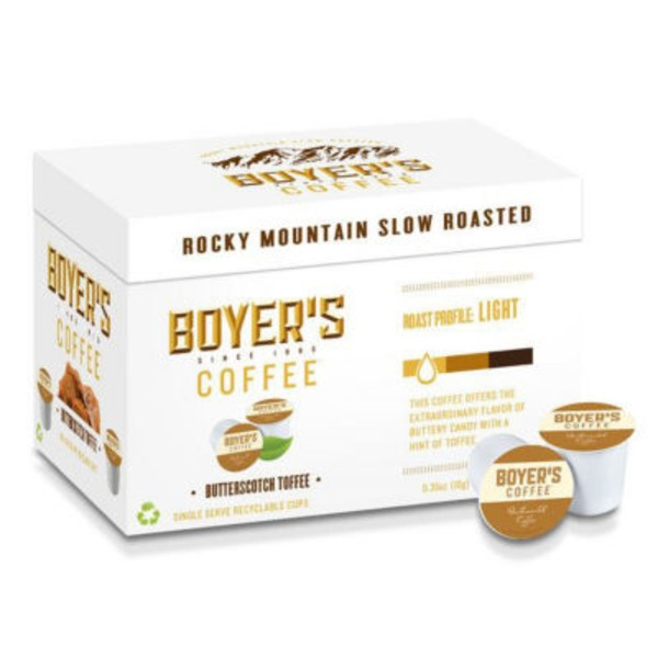 Boyers Coffee Coffee, Butterscotch Toffee, Single Serve Cups, Box