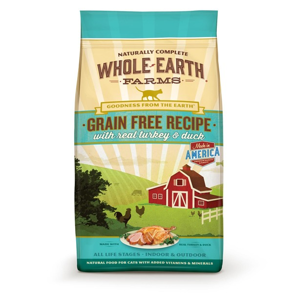 Whole Earth Farms Grain Free Real Turkey & Duck Cat Food 5 Lbs.