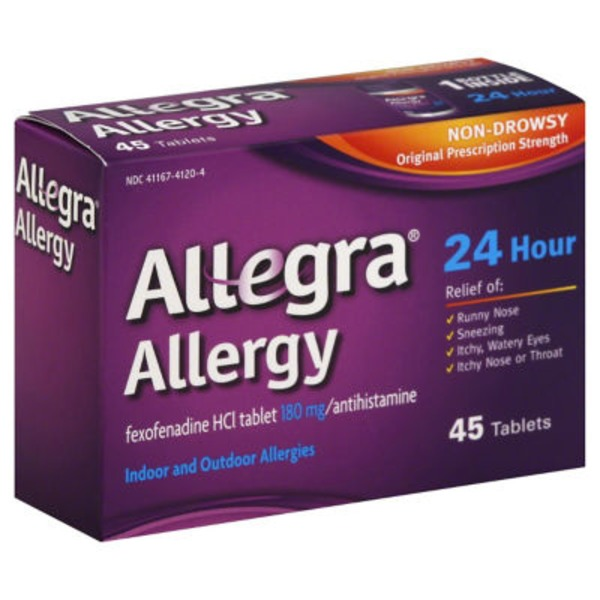 Allegra Allergy Non Drowsy Indoor and Outdoor Allergy Tablets Original Prescription Strength - 45 CT