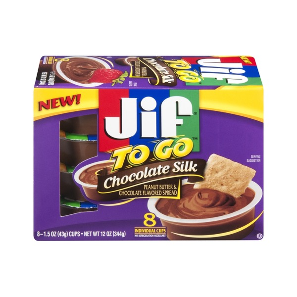 Jif To Go Chocolate Silk Spread Peanut Butter & Chocolate - 8 CT