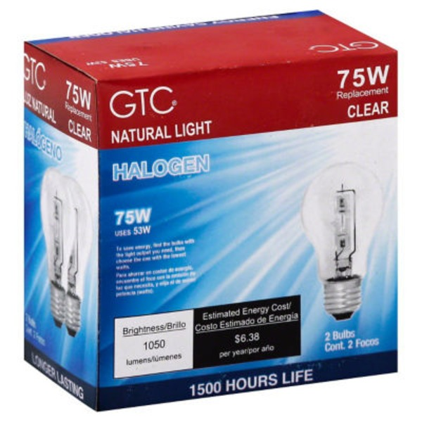 GTC 75 Watt Halogen Clear Light Bulbs