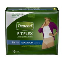 Depend FIT-FLEX Incontinence Underwear for Women, Maximum Absorbency, S/M, 19 count