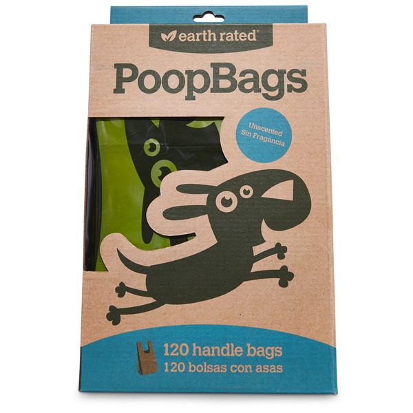 Earth Rated Unscented Poop Bags Handle Tie Dog Waste Bags Pack Of 120 Bags