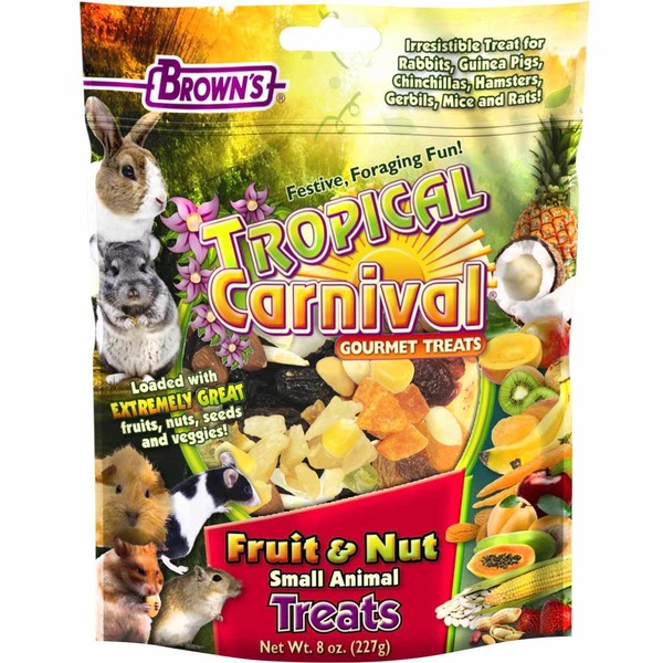 Brown's Tropical Carnival Fruit & Nut Small Animal Treats 8 Oz.