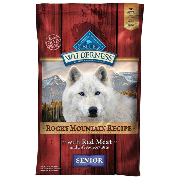 Blue Buffalo Wilderness Rocky Mountain Recipe WIth Red Meat Senior Natural Food For Dogs