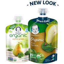 Gerber Organic 2nd Foods Baby Food, Pears & Spinach, 3.5 oz Pouch