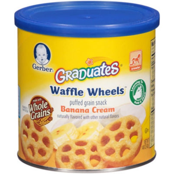 Gerber Graduates Waffle Wheels Banana Cream Puffed Grain Snack