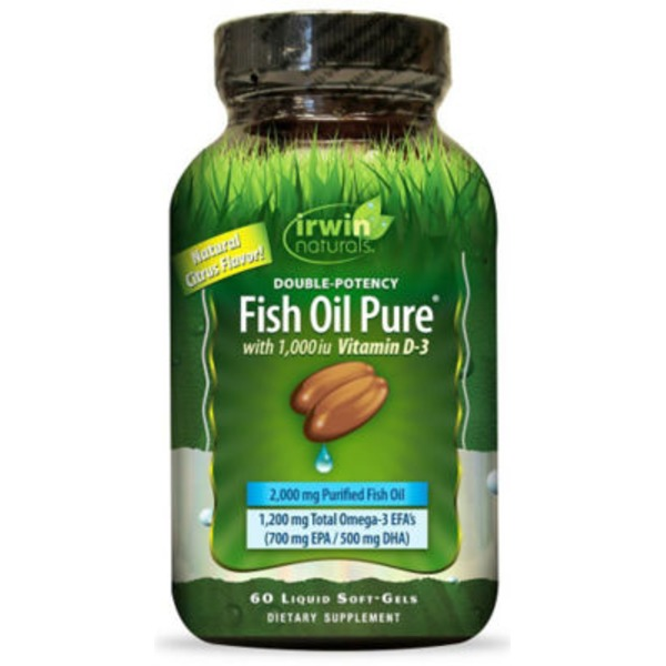 Irwin Naturals Double Potency Fish Oil Pure With Natural Citrus Flavor Liquid Softgels