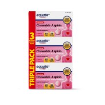 Equate Low Dose Aspirin Chewable Cherry Tablets, 81 mg, 36 Ct, 3 Pk