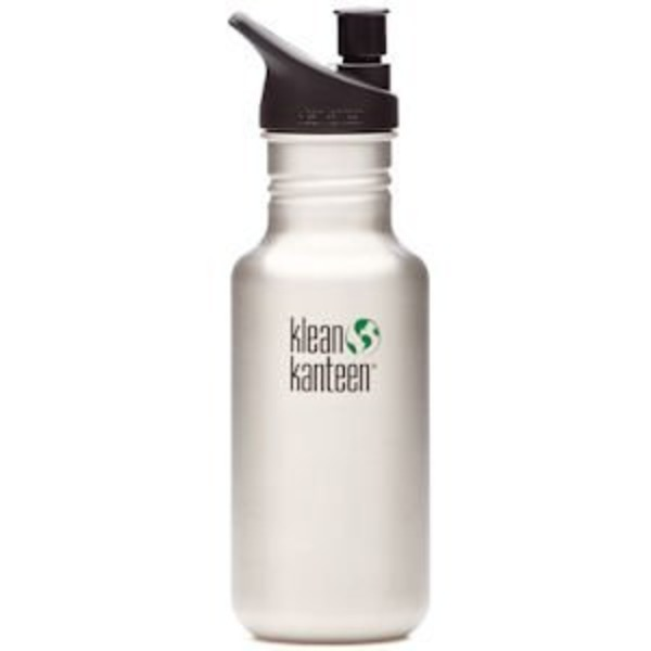 Klean Kanteen Classic 18-Ounce Stainless Steel Water Bottle With Sport Cap