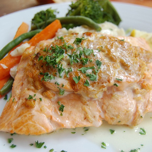 Blue Crab Stuffed Salmon Portion