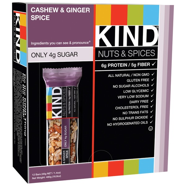 Kind Nuts & Spices Cashew & Ginger Spice 1.4 OZ Fruit & Nut Bar