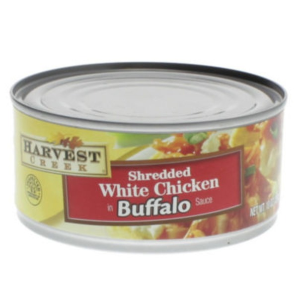 Harvest Creek Chicken, Shredded, White, in Buffalo Sauce, Can