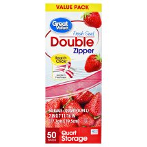 Great Value Double Zipper Bags, Value Pack, Quart, 50 Count