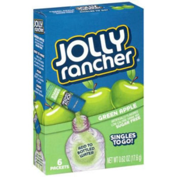 Jolly Ranchers Singles To Go! Low Calorie Drink Mix Sugar Free Green Apple - 6 PK