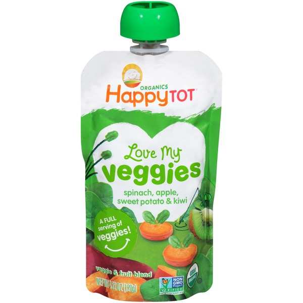 Happy Tot Organics Love My Veggies Spinach, Apple, Sweet Potato & Kiwi Baby Food