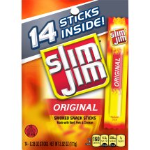 Slim Jim Original Smoked Snack Sticks, 0.28 Oz., 14 Count