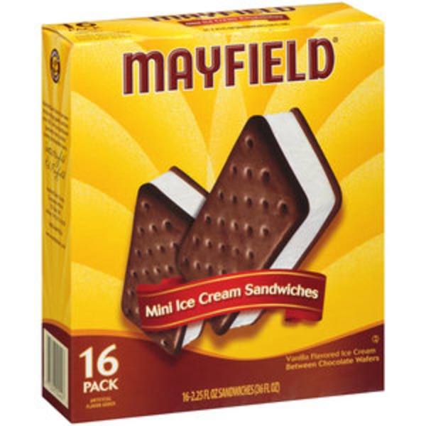 Mayfield Ice Cream Sandwiches, Mini, 16 Pack