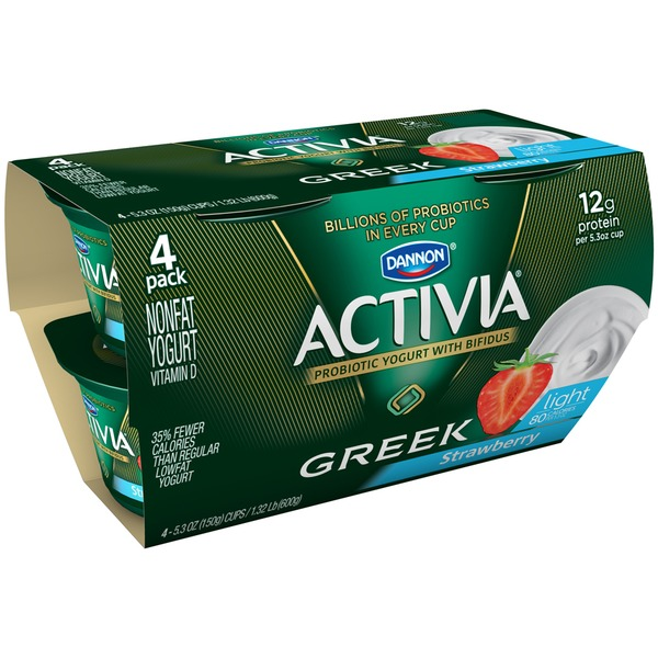 Activia Light Greek Greek Light Strawberry Nonfat Probiotic Yogurt