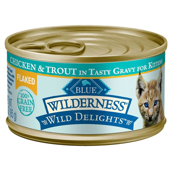 Blue Buffalo Kitten Food, Moist, Flaked, Chicken & Trout, Wilderness, Can