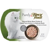 Purina Purely Fancy Feast Natural White Meat Chicken & Flaked Tuna Entree In A Delicate Broth Cat Food 2 oz. Tray