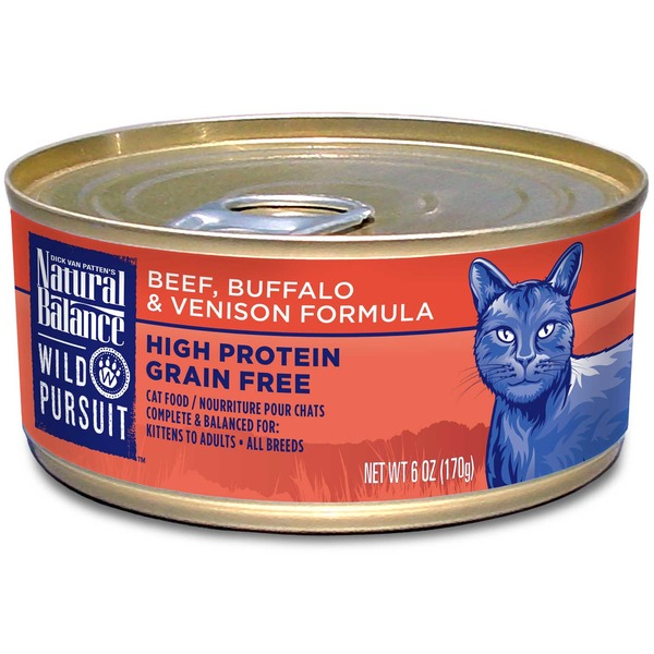 Dick Van Patten's Natural Balance Wild Pursuit Beef, Buffalo & Venison Formula High Protein Grain Free Cat Food Kittens to Adults All Breeds