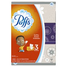 Puffs Basic Facial Tissues, 3 Family Boxes, 180 Tissues per Box