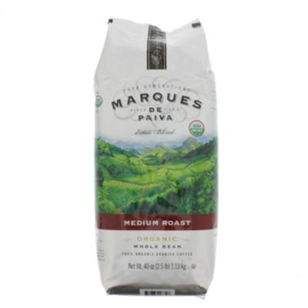 Marques De Paiva Organic Whole Bean Medium Roast Coffee