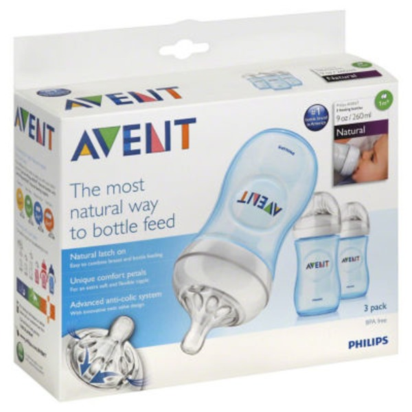 Avent BPA Free Natural Polypropylene Bottles Blue