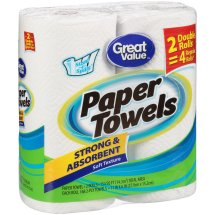 Great Value Paper Towels, Strong & Absorbent, 2 Double Rolls
