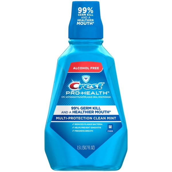 Crest Pro Health Multi Protection Crest Pro-Health Multi-Protection CPC Antigingivitis/Antiplaque Mouthwash Clean Mint (1.5 L)  Oral Rinse