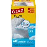 Glad Fresh Clean OdorShield Tall Kitchen Drawstring Trash Bags, 13 Gallon, 40 Ct