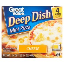 Great Value Cheese Pizza, Deep Dish, Mini, 22.4 oz, 4 Count