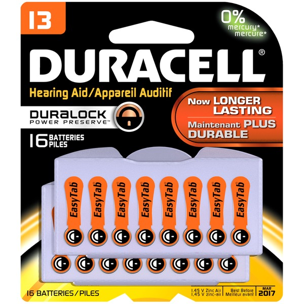 Duracell Size 13 Long-Lasting Hearing Aid Batteries 16 Count Specialty Batteries