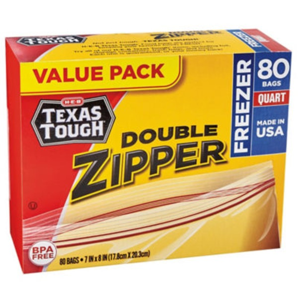 H-E-B Value Pack Texas Tough Quart Freezer Bags
