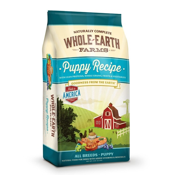 Whole Earth Farms Puppy Recipe With Lean Proteins, Whole Grains & Vegetables Goodness From the Earth All Breeds Puppy Natural Food