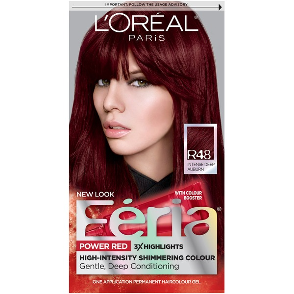 Feria High-Intensity Shimmering Colour Power Red R48 Intense Deep Auburn Hair Color