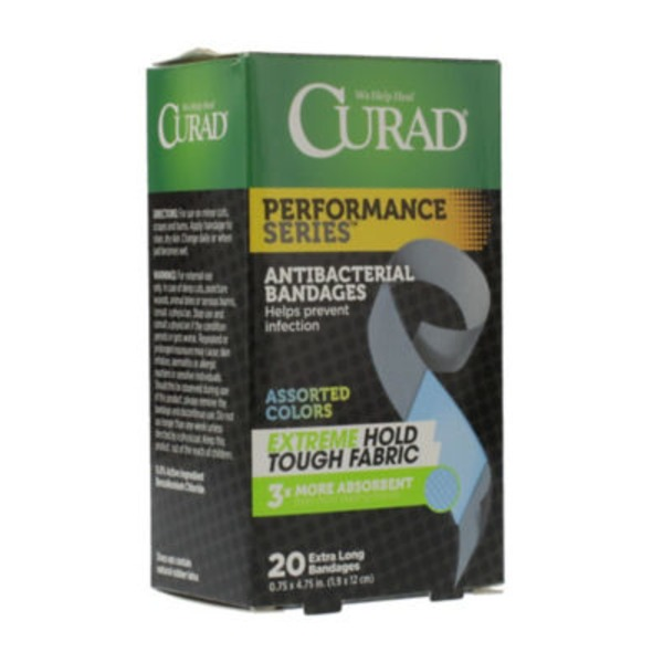 Curad Extra Long Antibacterial Bandages Assorted Colors