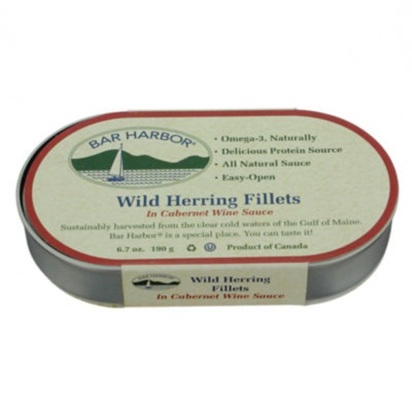Bar Harbor Wild Herring Fillets, in Cabernet Wine Sauce